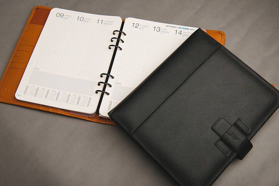 Ad Vitam leather organiser, published and printed by Précigraph