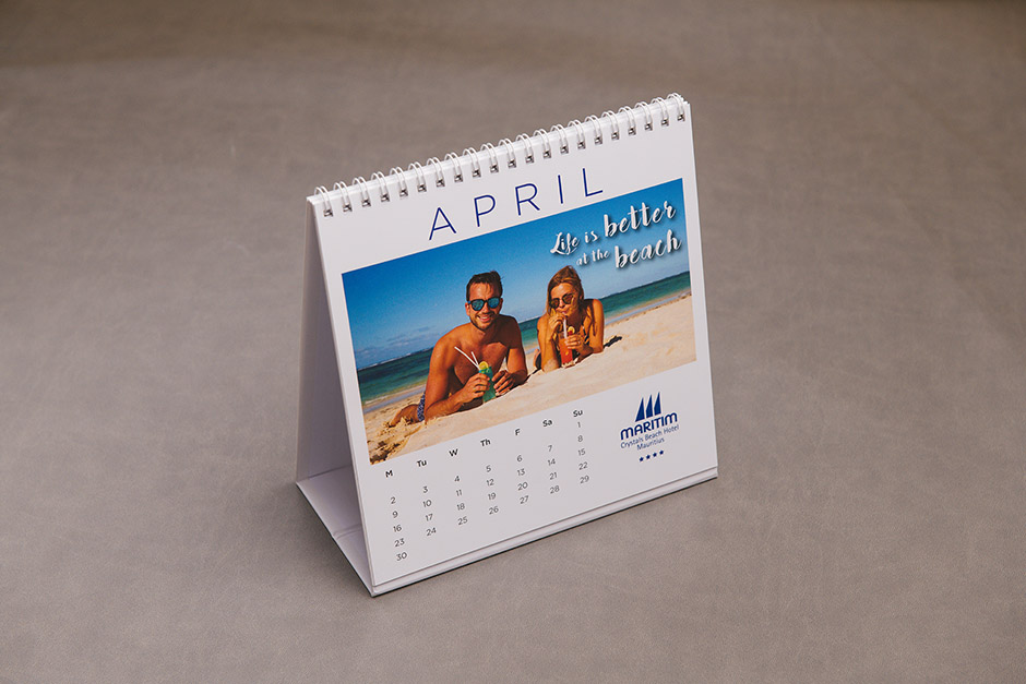 Maritim Mauritius table calendar, printed by Précigraph