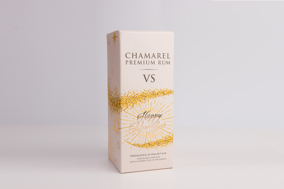 Packaging Chamarel Premium Rum, impression Précigraph