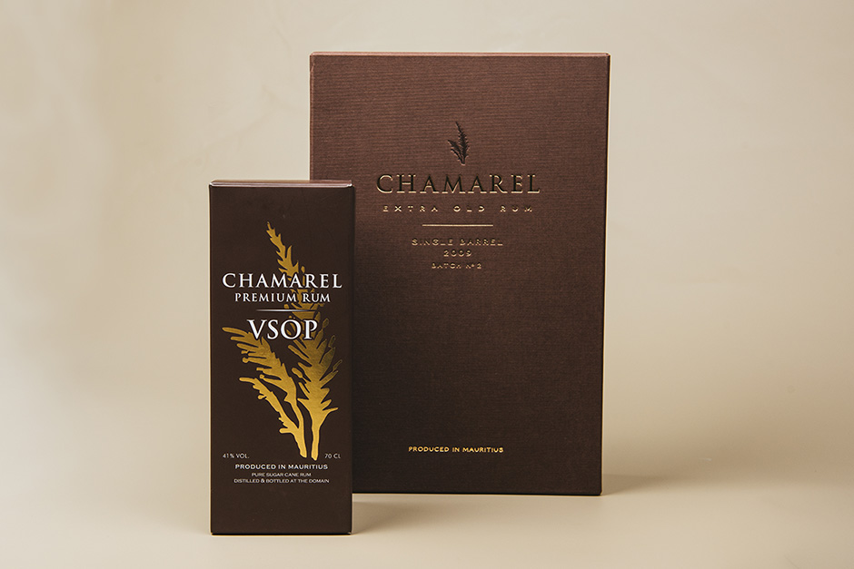 Packaging Chamarel Premium Rum VSOP, impression Précigraph