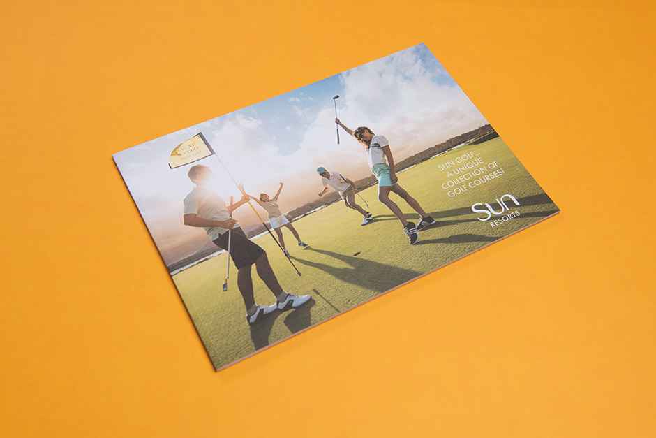 Brochure Golf Sun Resorts Mauritius, impression Précigraph