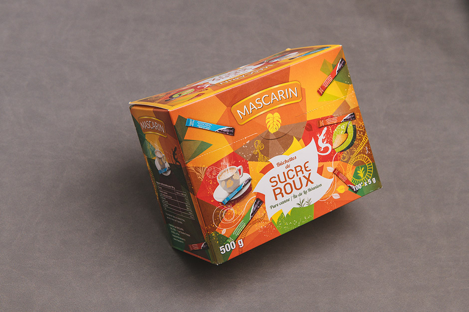 Packaging Sucre Roux Mascarin, Impression Précigraph