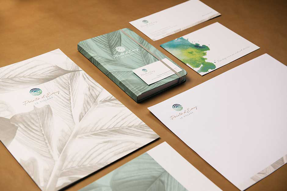 Pointe D'Esny Le Village brochure and stationery, printed by Précigraph